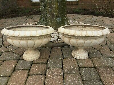 Vintage Pair French Oval Cast Iron Planters Urns