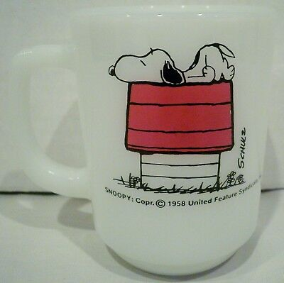 Fire King Peanuts Snoopy I Think I'm Allergic To Morning Cup Mug