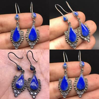 Beautiful unique Solid Silver Old Turkman lapis Stone Earing #SR1114