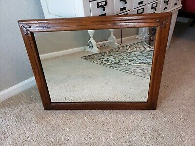 Vintage Antique A Brandt Co Ranch Wood Oak Mission Style Framed Mirror Free Ship