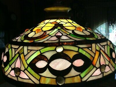 Vintage Large Leaded Tiffany Style Stained Glass Lamp with Jewels - Unique!
