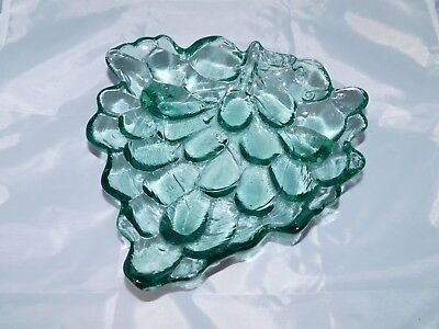 Vintage Grape Shaped Pattern Green  Art Glass Candy Nut Trinket Footed Dish