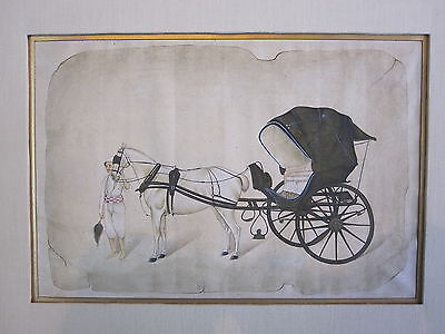 An old or antique look miniature paper painting of horse