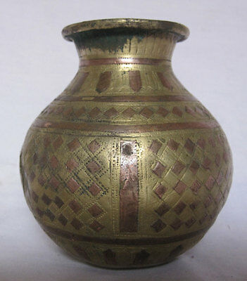 003 An old HinduTraditional Ritual Brass GANGA JAMUNA lota or vase Collectible