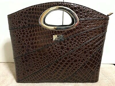 Beijo Dark Brown Faux Alligator Crocodile Shoulder Bag Purse Strap Zip Close NEW