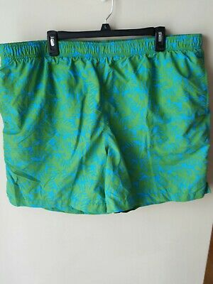 286030d609 Lands' End Men's Swim Trunks Sz XXL 44-46 Blue Green Drawstring Elastic  Waist