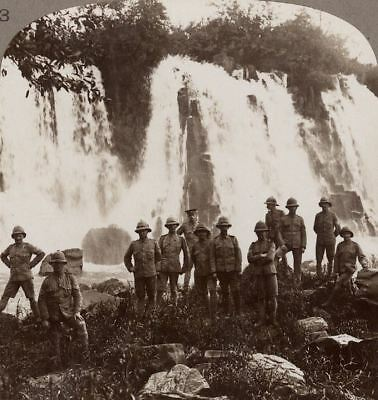 British Troops From Invading Columns Refresh Themselves at a Waterfall