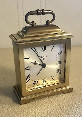 Vintage Swiza 8 Brass Mechanical Alarm Clock