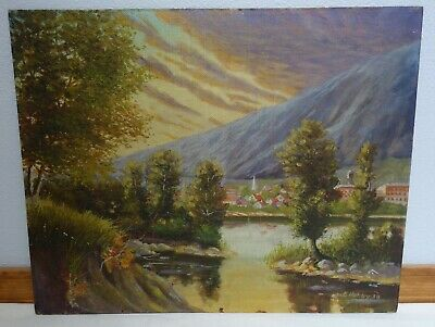 2 Landscape Oil Painitngs. Peaceful Valley & Cabin on Mountain Range.