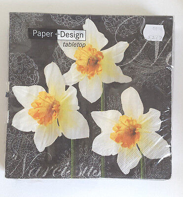 Daffodil Blossoms Paper Napkins. 5 x 20 Lunch 33x33cm. 3ply by Paper & Design