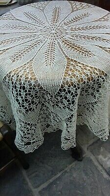 """A vintage handmade round Maltese lace in linen tablecloth- 4' 6"""" in diameter"""
