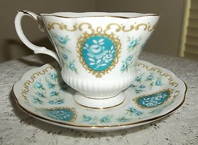 Royal Albert Cameo Series Bone China England Treasure Teal Blue