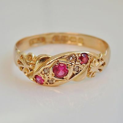 Stunning Antique Edwardian 18ct Gold Ruby & Diamond Ring c1905; UK Size 'O 1/2'