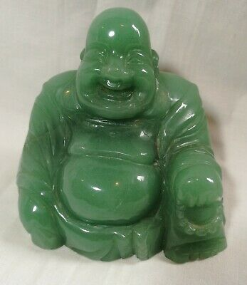 Chinese handcarved Natural Dongling Jade green stone happy Buddha H10cm big