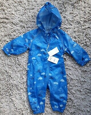Mothercare Baby Boys Puddlesuit Age 6/9 Months Hooded New Bnwt Rain Clouds Blue