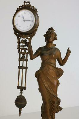 GENUINE ANTIQUE 8 DAY SWINGER MYSTERY CLOCK - JUNGHANS with DIANA STATUE restore