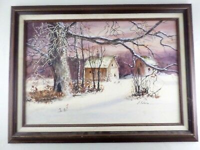 Irene Selonke Listed Kansas Artist Winter Farm Landscape Watercolor Painting VTG