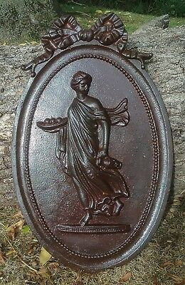 Antique Victorian Cast Iron Plaque of a Classical Robed Female Figure