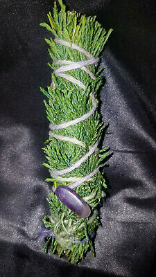 "Pure Cedar Smudge Stick handpicked handmade & Blessed, 4-5"" + Amethyst, Magical!"