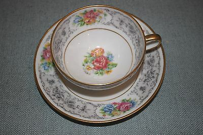 ANTIQUE  Limoges G. AHERNFELOT Tea Cup & Saucer Florals Gold Trim Hand Painted