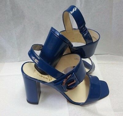 264b1edc58fc4c Scarpe donna 37 Sandali Blu Vernice Tacco Woman Shoes Sandals MADE ITALY  Schuhe