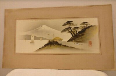 Vintage Japanese picture, landscape enhanced by embossed gilt