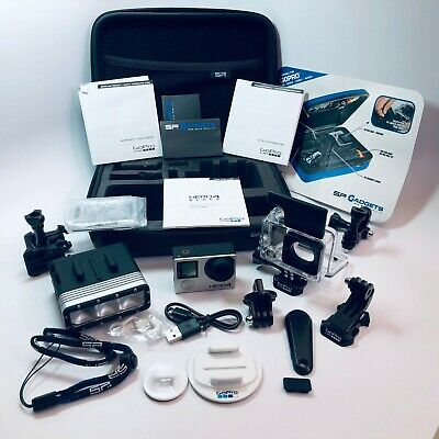 NEW GoPro HERO4 Black Edition 4K Camera 19 pc Package; Case, Flash, Memory, more