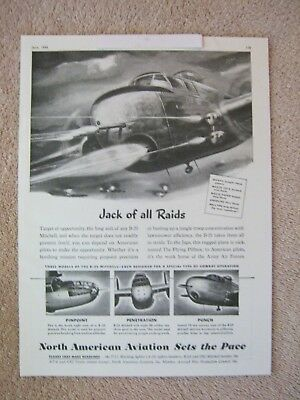 Vintage 1945 WWII North American Aviation B-25 Mitchell Bomber Aircraft Print Ad