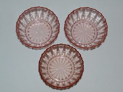 3 Vintage Antique Pink Depression Glass  Ribbed Dessert Bowls