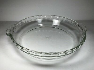 Vintage PYREX 229 Clear Glass Fluted Scalloped Edge Deep Dish Pie Plate