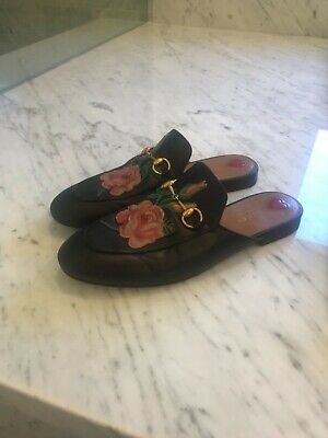 0c5eded3b3c GUCCI Princetown Horsebit Loafers mules Floral Embroidered Rose sz 39  820