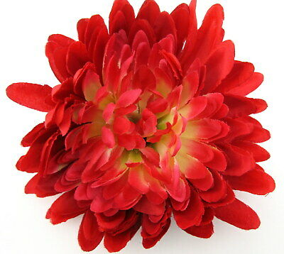 """Large 5.5"""" Red Yellow Mum Poly Silk Flower Hair Clip,Pinup,Updo,Rockabilly"""