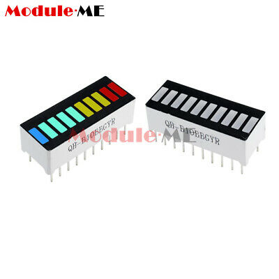 2 PCS 10 Segment LED Bargraph Light Display Red Yellow Green Blue MO