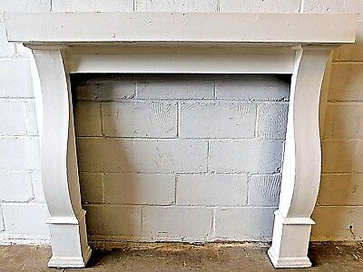 1890s Antique Wood FIREPLACE MANTEL Surround Curved Legs VICTORIAN Style ORNATE