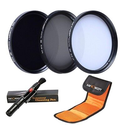 Lens Filter 77Mm Kf Concept filter Kit / Uv Cpl Nd8 Cleaning Pen Pouch New Japan