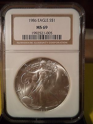 1986 Silver American Eagle (NGC MS-69) First Year Of Issue