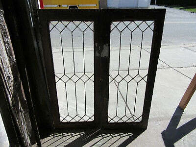 ~ Pair Antique Stained Glass Cabinet Doors ~ 18 X 44 ~ Architectural Salvage ~