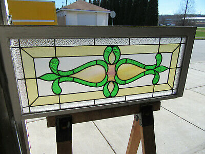 ~ ANTIQUE STAINED GLASS TRANSOM WINDOW ~ 44 x 19.25 ~ ARCHITECTURAL SALVAGE
