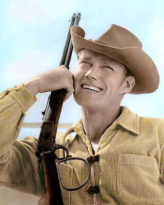 "Chuck Connors The Rifleman 1960 Hollywood Actor 8X10"" Hand Color Tinted Photo"