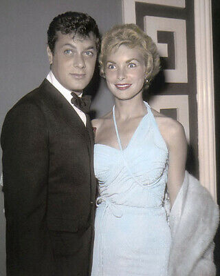 """TONY CURTIS & JANET LEIGH HOLLYWOOD ACTORS 8x10"""" HAND COLOR TINTED PHOTOGRAPH"""