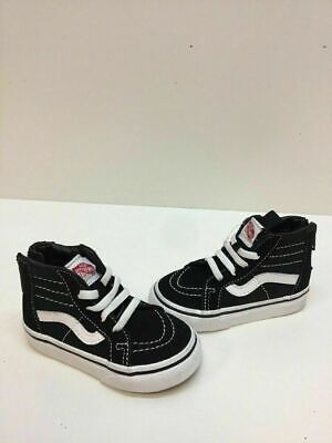 d9e4334f51 VANS Classic Sk8 Hi Black Canvas Elastic Laces Back Zip Shoes Toddler Size 5