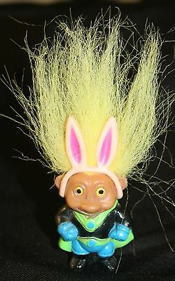 """Easter Bunny Troll Soma 4"""" Tall Holiday Basket Vtg Doll Figure Toy"""