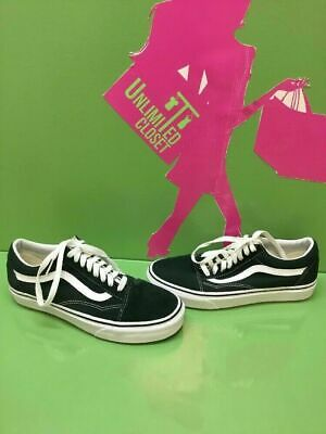 8cb61f6599 VANS Old Skool Dark Green Suede Canvas Lace Up Skate Shoes Men s 7 Women s  8.5