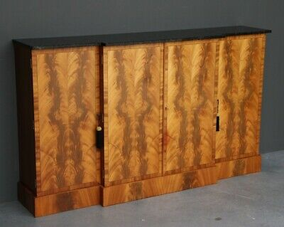 Antique Biedermeier style 4 door sideboard inlaid mahogany ebony vintage buffet