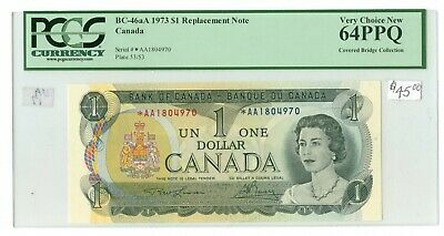 1973 $1.00 Canada BC-46aA *AA Prefix Replacement note PCGS MS64 PPQ