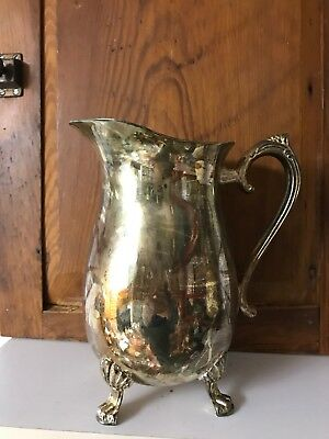 Vintage Silver plate Water Pitcher Footed Ice Lip