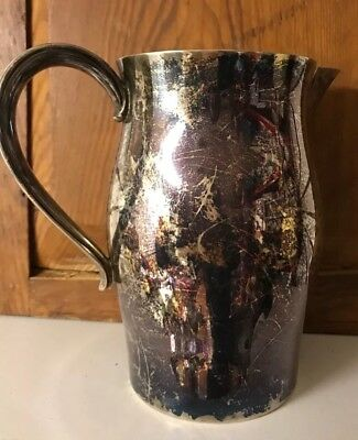 "Antique Water Pitcher Jug Ewer Unmarked 7"" Tall Silver Plated"