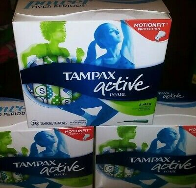 Tampax Active Pearl Tampons Unscented Lot Of 108 New Super Size Motionfit