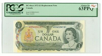 1973 $1.00 Canada BC-46aA *MR Prefix Replacement note PCGS MS64 PPQ