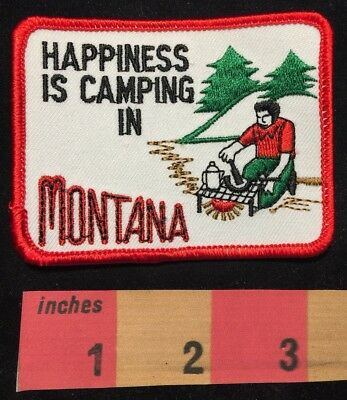 Happy Camper Patch HAPPINESS IS CAMPING IN MONTANA Great Outdoors 00X3